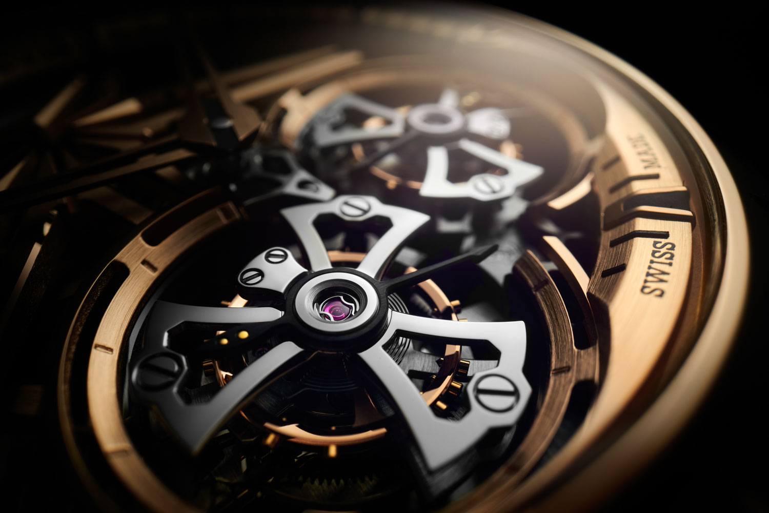 A closer look at the tourbillon bridges on the 2021 Roger Dubuis Excalibur Double Flying Tourbillon