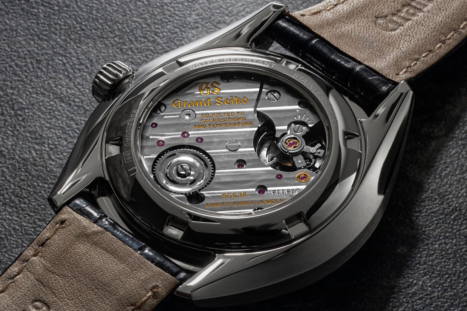 The Grand Seiko SBGK007G is powered by the Calibre 9S63, which reaches back to the famous 9S manual wind movement, which in 1998 became the base of all Grand Seiko mechanical movements (©Revolution)