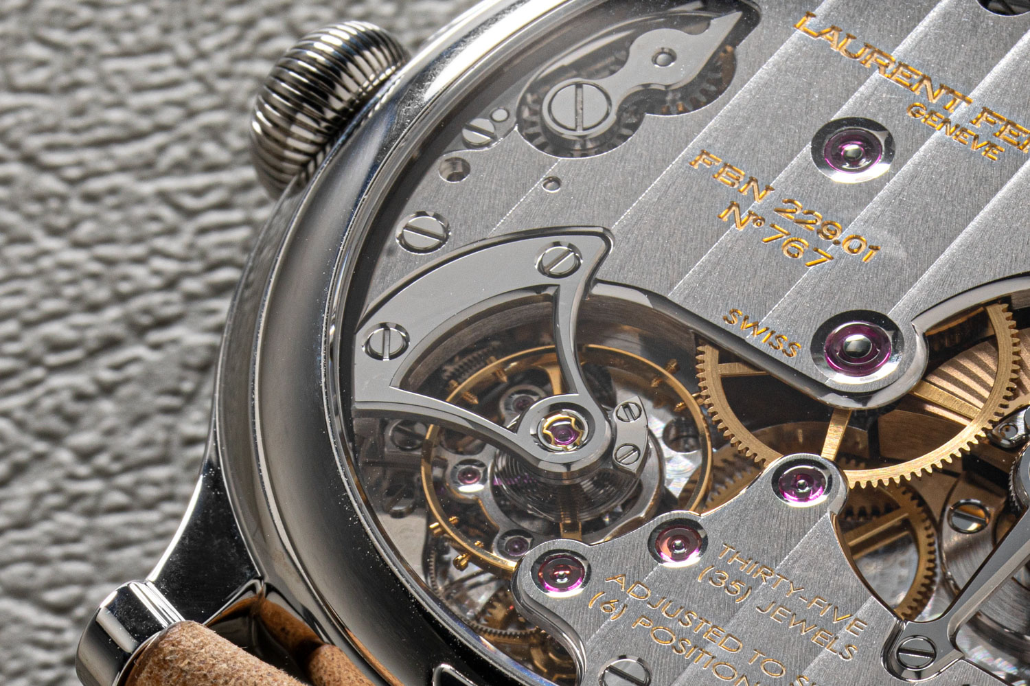 Recessed within the depths of the Micro-Rotor's movement is Ferrier's take on the legendary Natural Escapement, this exclusive double direct-impulse escapement in silicon, directly on the balance, has been inspired by the father of modern horology, Abraham-Louis Breguet; the modern construction, associated with the use of cutting-edge materials, maximizes the restitution of energy (©Revolution)
