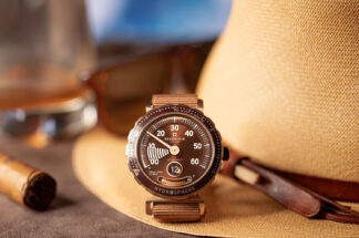 """The Reservoir Hydrosphere Bronze x Revolution """"The Maldives Edition"""" has a dial with the perfect colour of the sunset, and complemented by a beautiful sunray effect emanating from the centre (©Revolution)"""