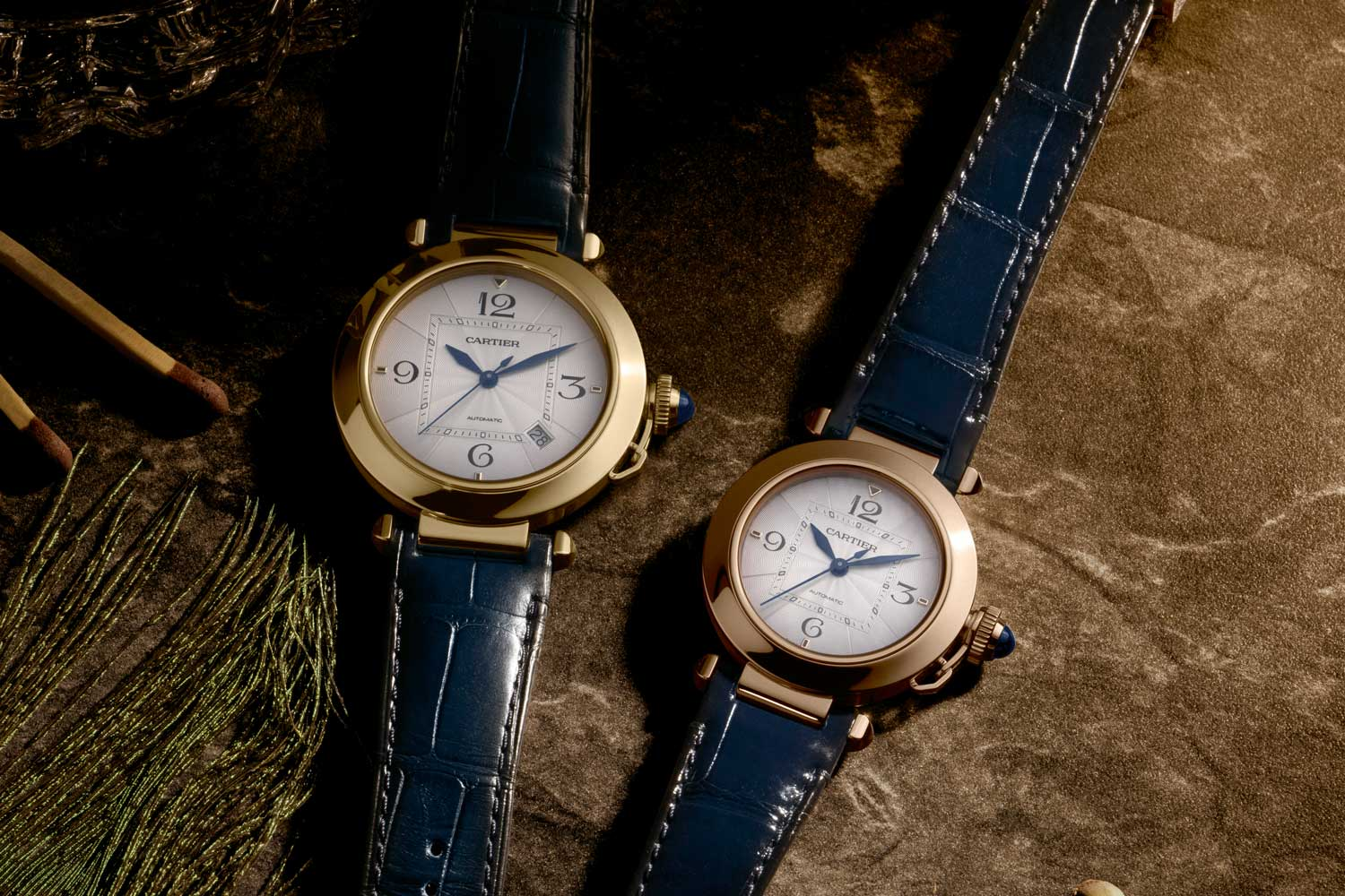 The Pasha de Cartier 41mm in yellow gold, and 35mm in pink gold. (©Revolution)