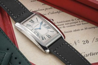 Phillips recently unveiled a very special Tank Américaine in platinum, one of thirty made for the Italian market and featuring dark green numerals on the dial and a matching dark green crocodile strap.