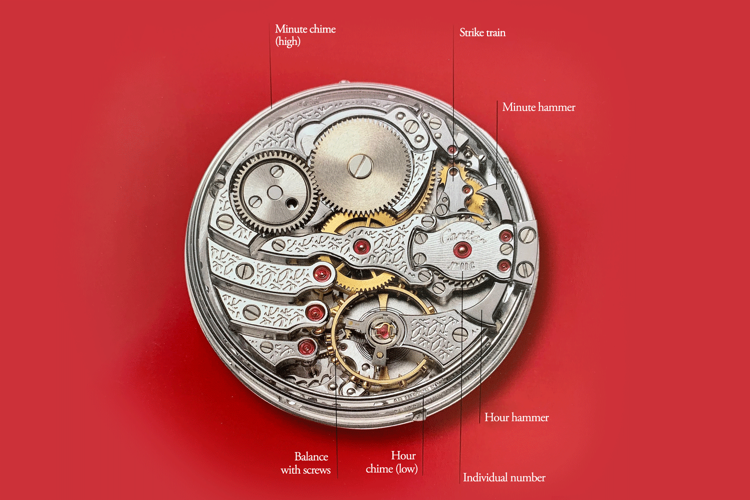 The Cartier Minute Repeater, in fact, received two different calibres: The yellow gold (2003) and pink gold (2004) versions used the Calibre 9401 MC (most likely built on a Fred Piguet ebauche) and the white gold version uses the Calibre 909 MC, which according to Geo Cramer was by Renault & Papi themselves, pictured here is the latter