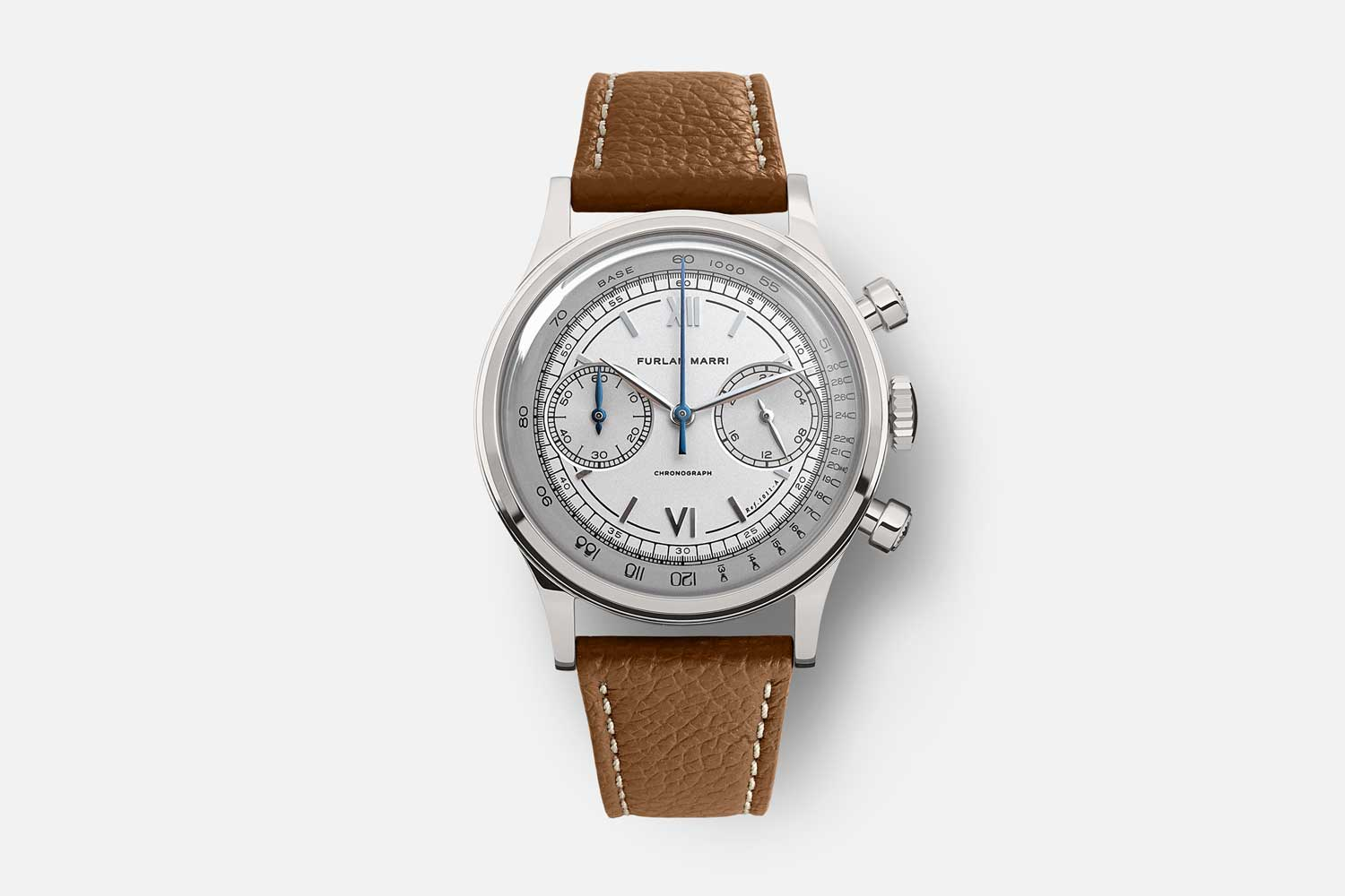 """The 38mm Furlan Marri Ref. 1011-A """"Tasti Tondi"""" with a creamy two tone dial and tempered steel blued hands"""