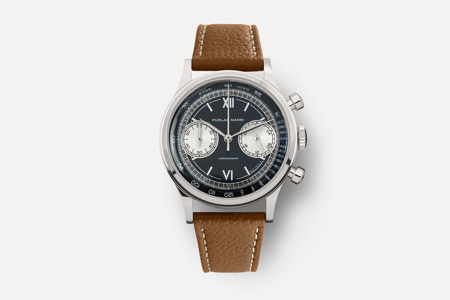 """The 38mm Furlan Marri Ref. 1022-A """"Laccato Nero"""" with a stunning two tone lacquered dial"""