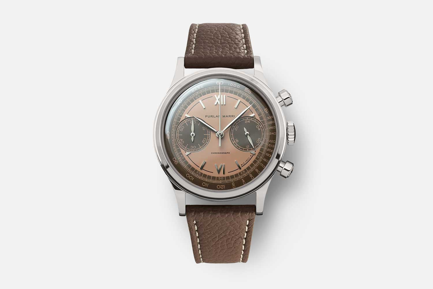 """The 38mm Furlan Marri Ref. 1031-A """"Havana Salmon,"""" inspired by the colors of Latin America, with a chocolate and salmon dial"""