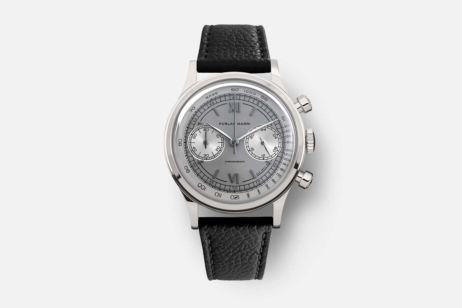 """The 38mm Furlan Marri Ref. 1041-A """"Mr. Grey,"""" inspired by the most collectible and exclusive 50 's watches, with subtle tones of grey and black"""