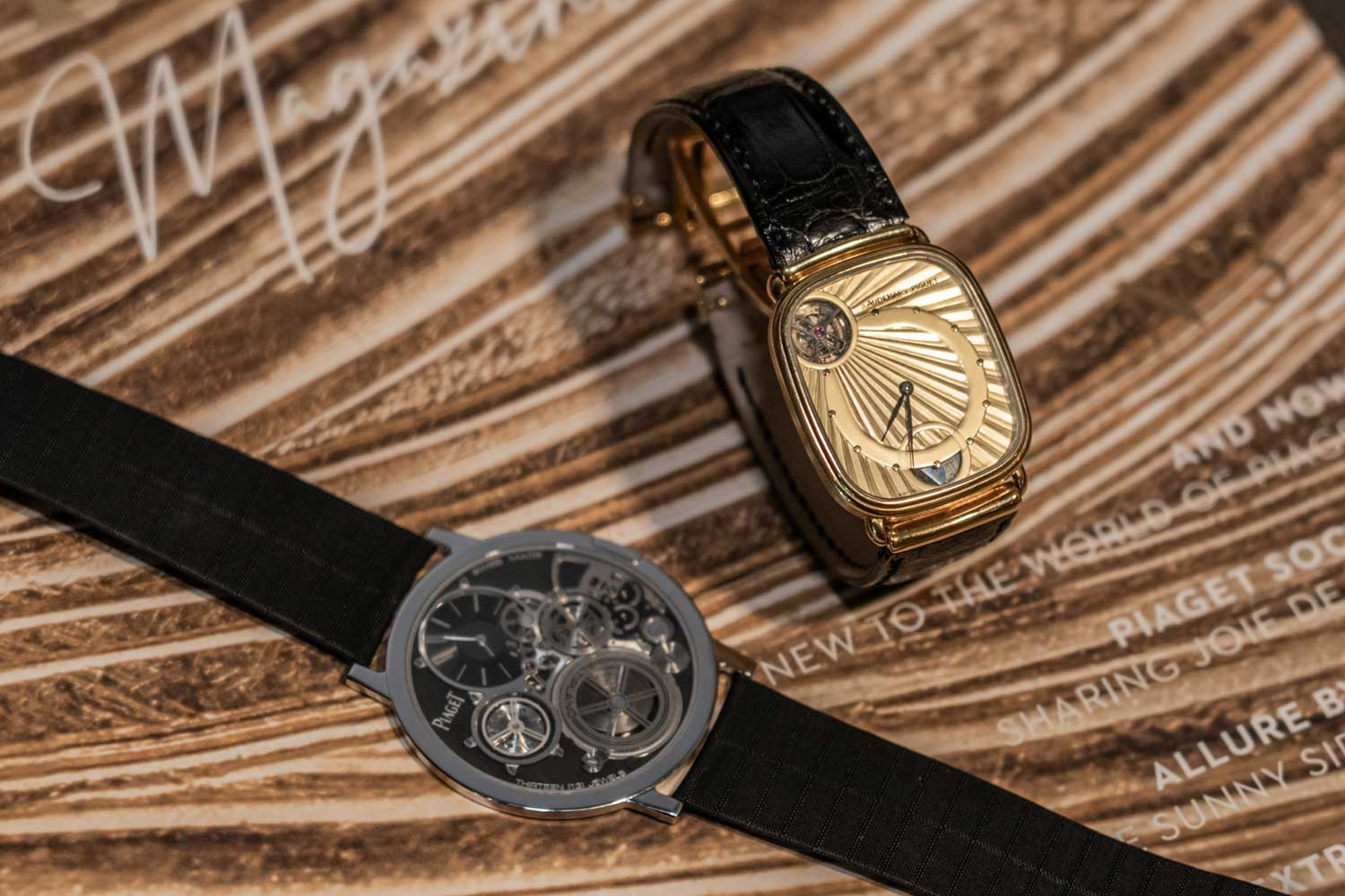The 1986 Jacqueline Dimier designed Audemars Piguet ultra-thin automatic tourbillon timepiece seen here next to the Altiplano Ultimate Concept, which no doubt share a certain sense of lineage (©Revolution)
