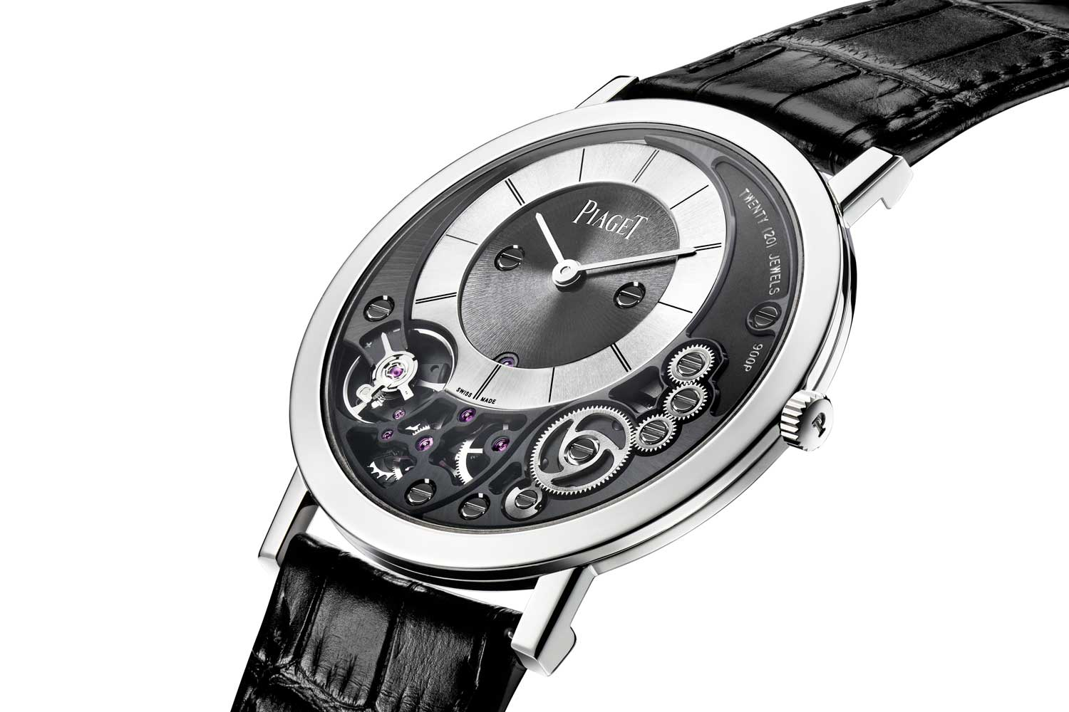 The 38mm Piaget Altiplano powered by the ultra-thin hand-wound 900P caliber, which forms the baseplate and case of the watch