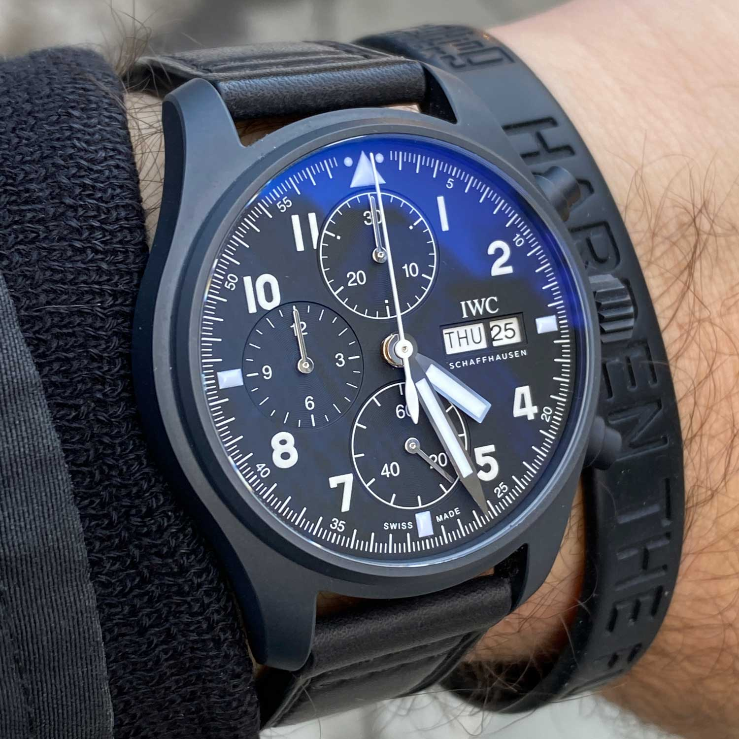 """The IWC Pilot's Watch Chronograph Edition """"Tribute to 3705"""" is a homage to the Ceramic Fliegerchronograph launched in 1994."""