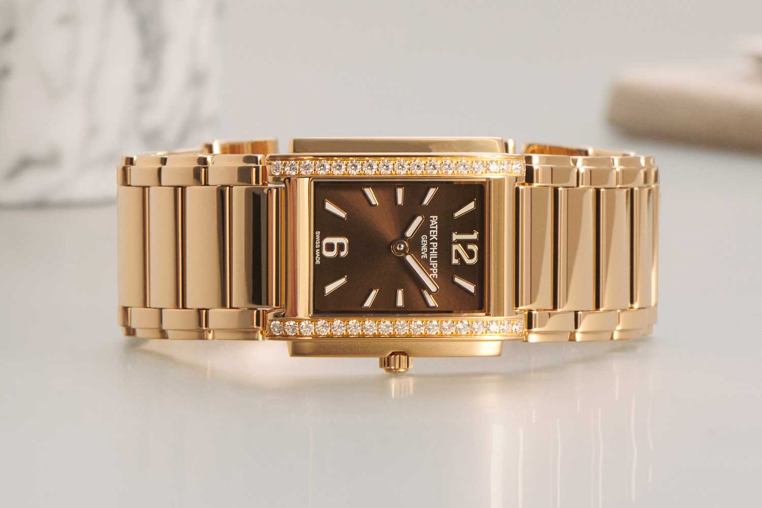 """The """"manchette"""" style model features a streamlined, 33 mm rectangular case in 18K rose-gold."""