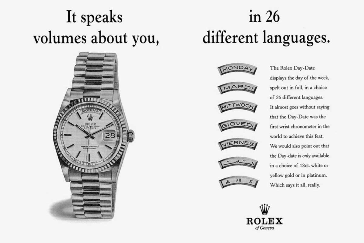 An old advertisement for the Day-Date.
