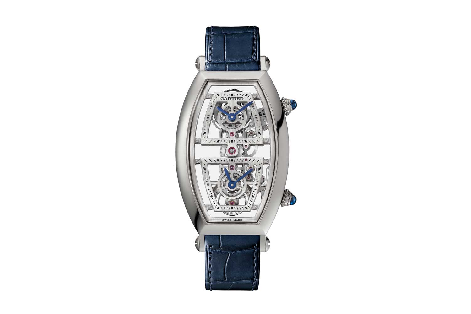 Cartier Prive Skeleton Dual Time Zone Tonneau Watch lanched at SIHH 2019; features an all-new movement, which is actually an extended linear gear train with a single balance and a centre wheel that splits off into two additional trains for each indication: this watch is different in that the crown at the bottom advances the lower hour hand only and while the CPCP watches' crowns were totally independent, here the minute hands are synchronised