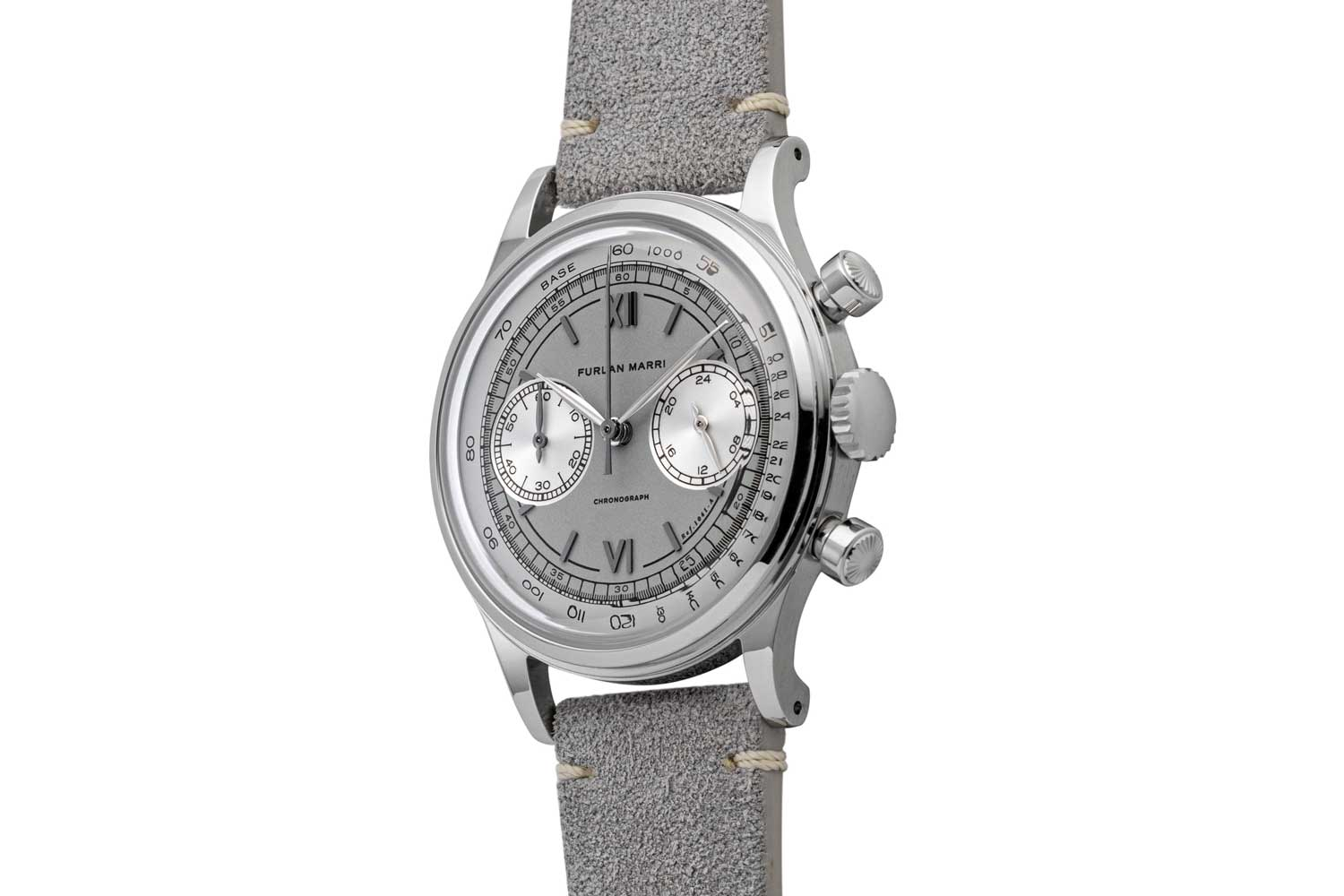 """François Borgel style crown and pushers seen on the 38mm Furlan Marri Ref. 1041-A """"Mr. Grey"""" (©Revolution)"""