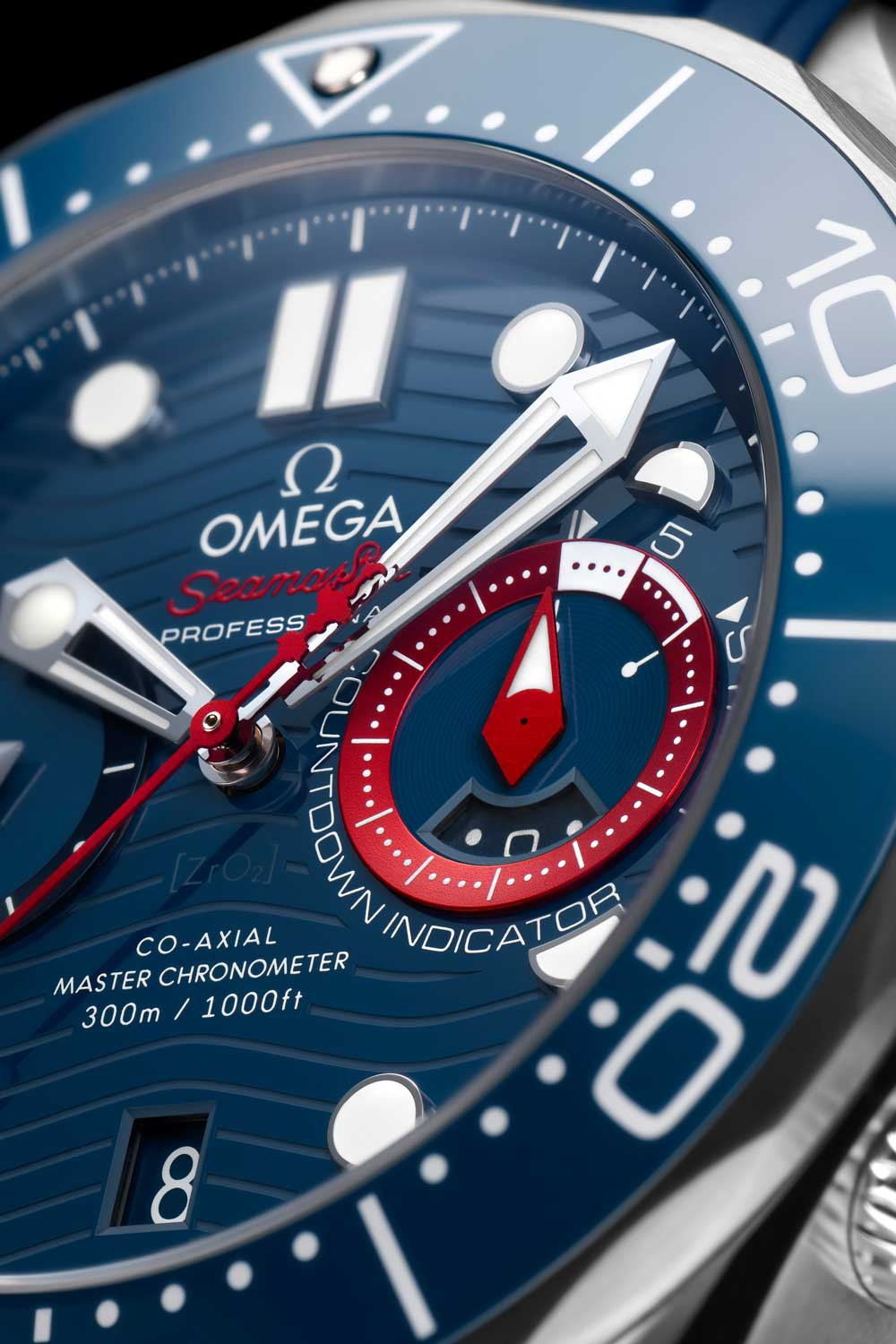 The watch highlights a strong sense of the America's Cup race livery of red, white and blue with bold, red accents on the dial.
