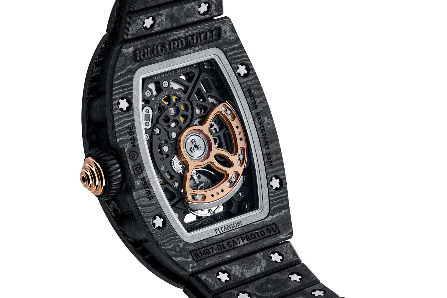 The RM 07-01 Starry Night is offered on Richard Mille's super light Carbon TPT® bracelet, which weighs just 29 grams.
