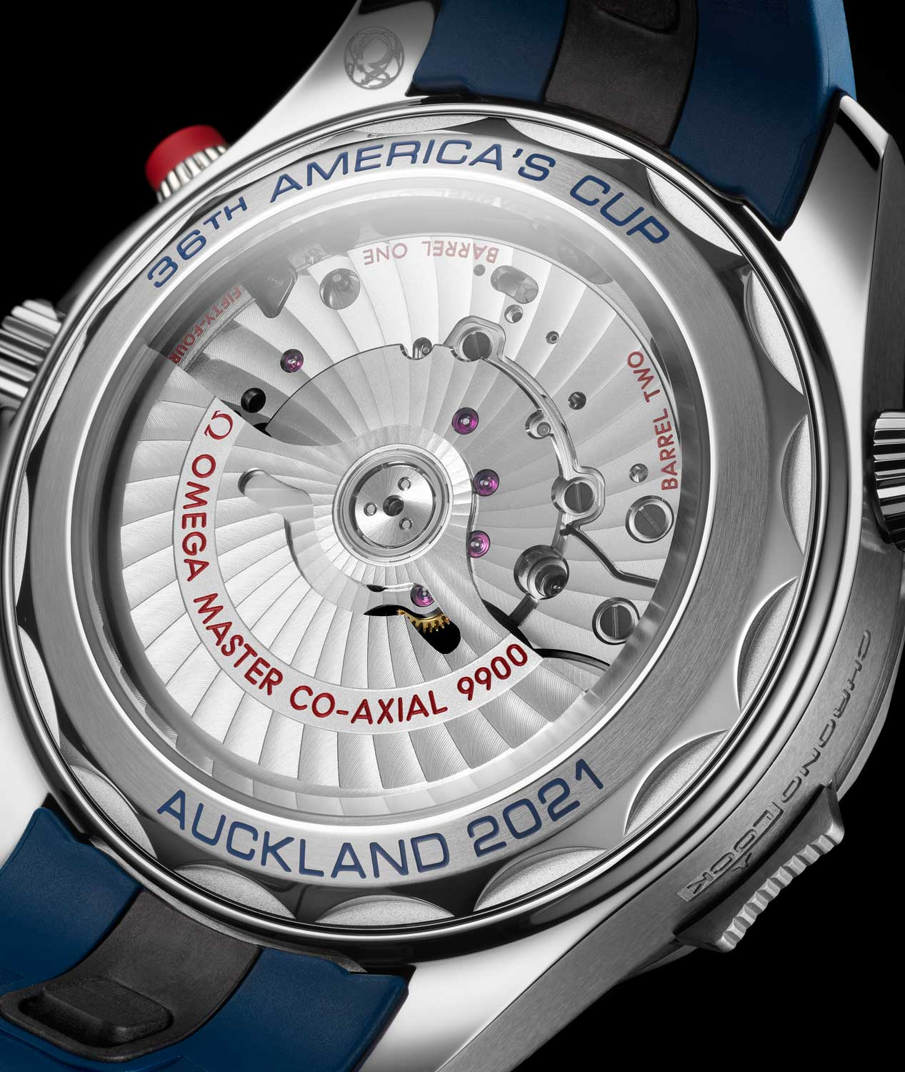 The sapphire caseback offers a fabulous view of the in-house Calibre 9900 automatic chronograph with Arabesque stripes.