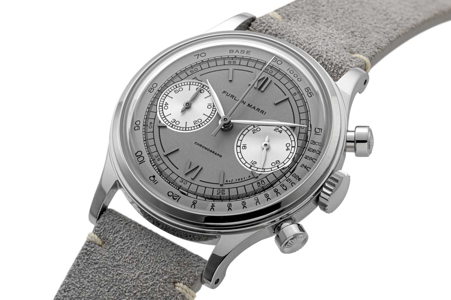 """The 38mm Furlan Marri Ref. 1041-A """"Mr. Grey,"""" inspired by the most collectible and exclusive 50 's watches, with subtle tones of grey and black (©Revolution)"""