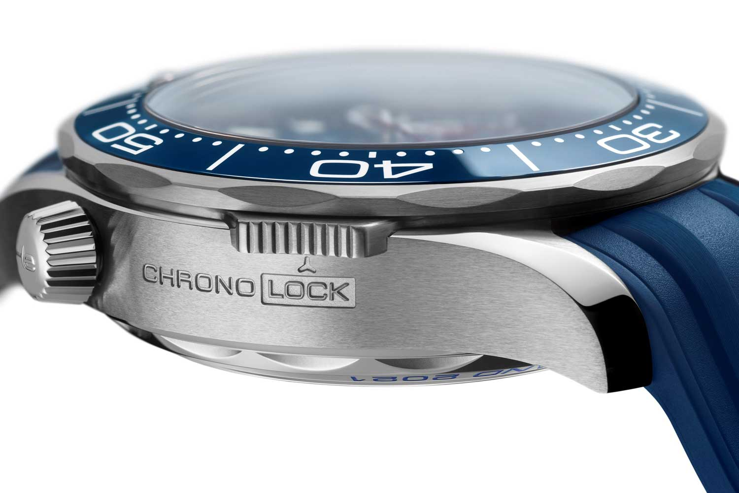 A sliding button at 8 o'clock allows the wearer to lock the chronograph pushers in place, preventing accidental activation during hectic sailing.