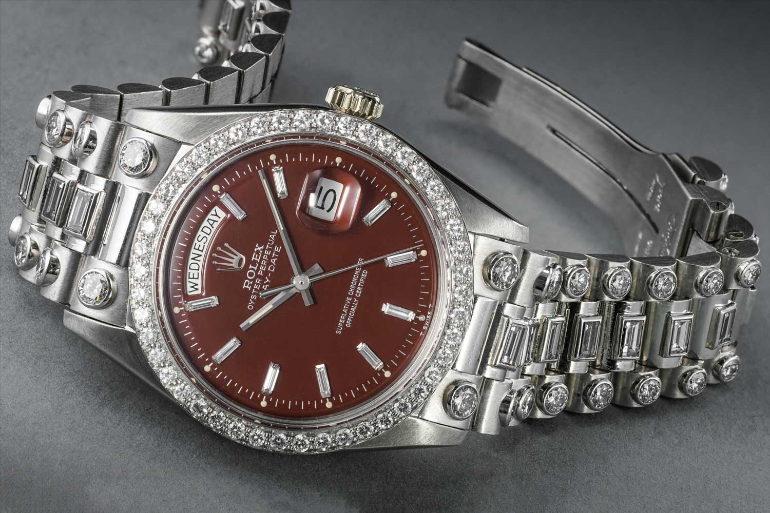 A platinum and diamond set Rolex ref. 1804 with a burgundy Stella dial from 1972. (Image: Phillips)