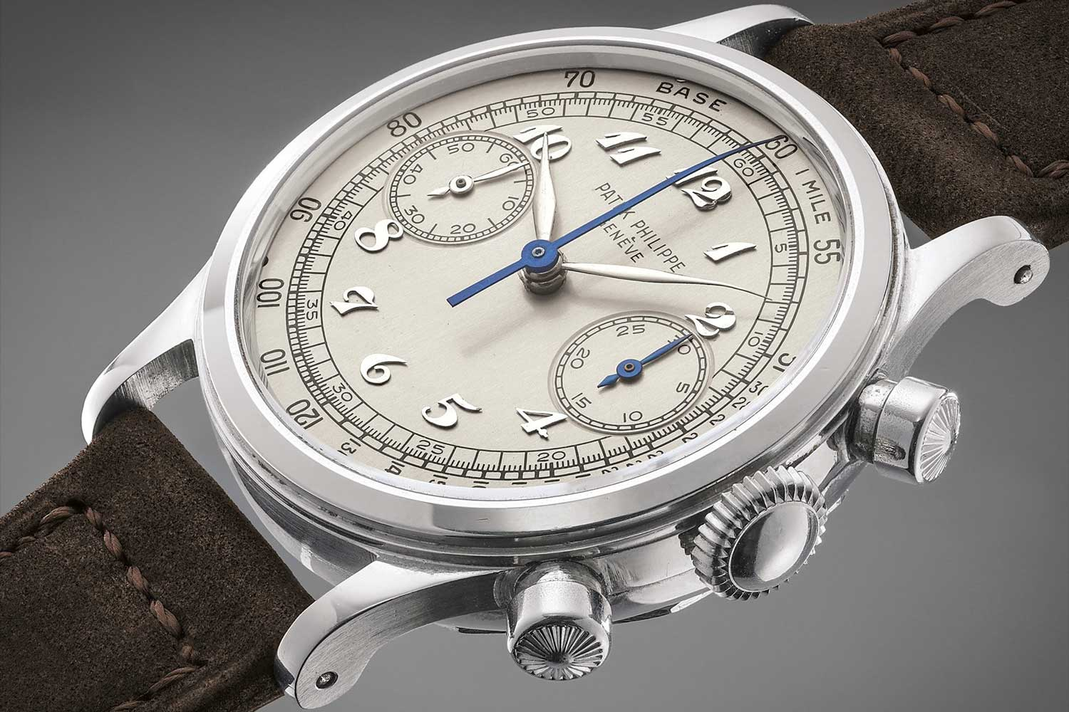 1950 Patek Philippe chronograph ref. 1463 in steel with Breguet numerals, featuring the famed François Borgel and the beloved crown and chronograph pusher that is today synonymous with the 1463 (Image: phillipswatches.com)