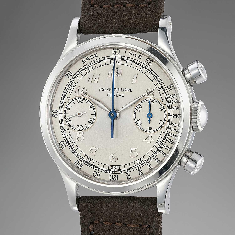 1950 Patek Philippe chronograph ref. 1463 in steel with Breguet numerals (Image: phillipswatches.com)
