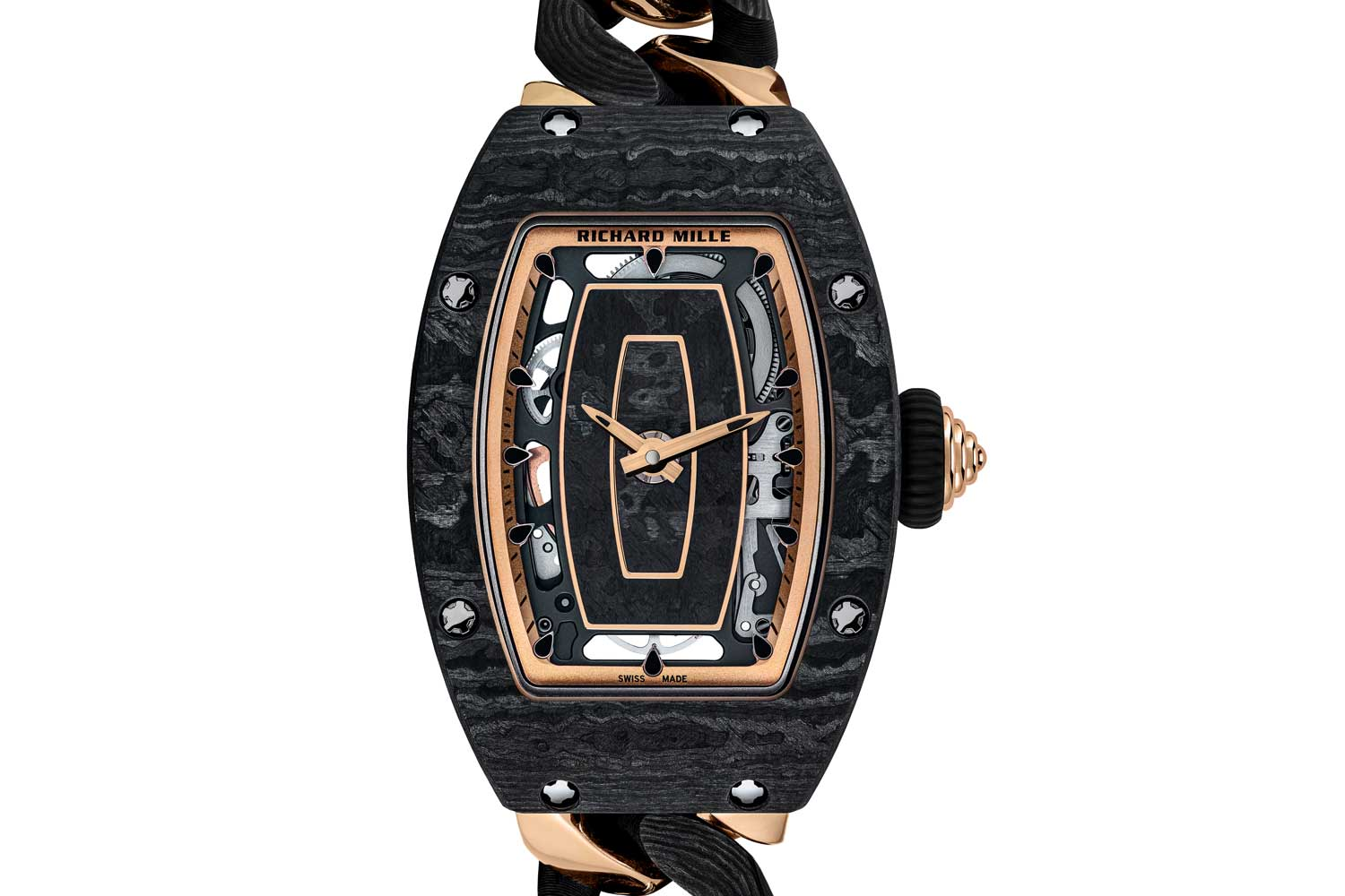 RM 07-01 open-link red gold and Carbon TPT bracelet