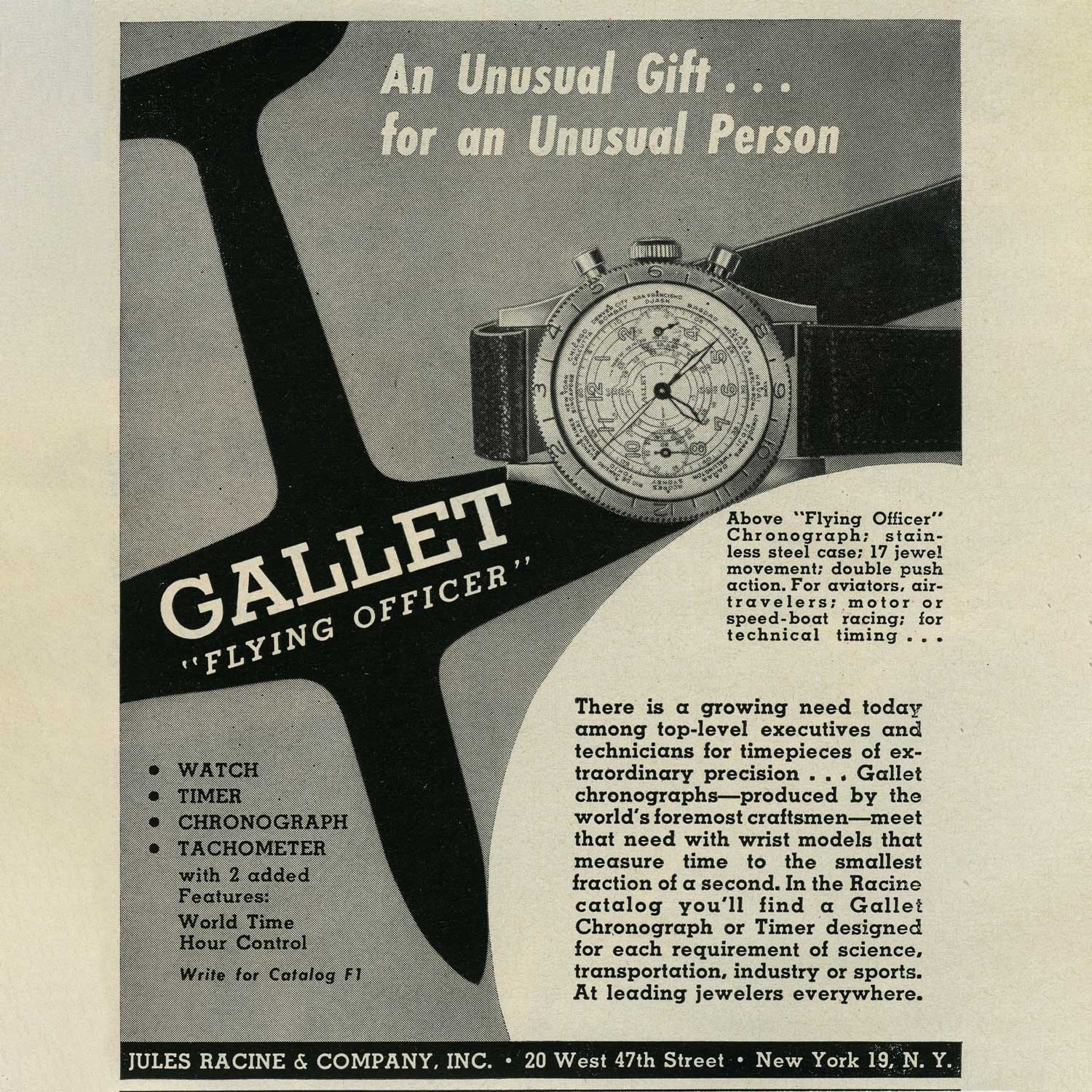 An old advertisement of the Gallet Flying Officer