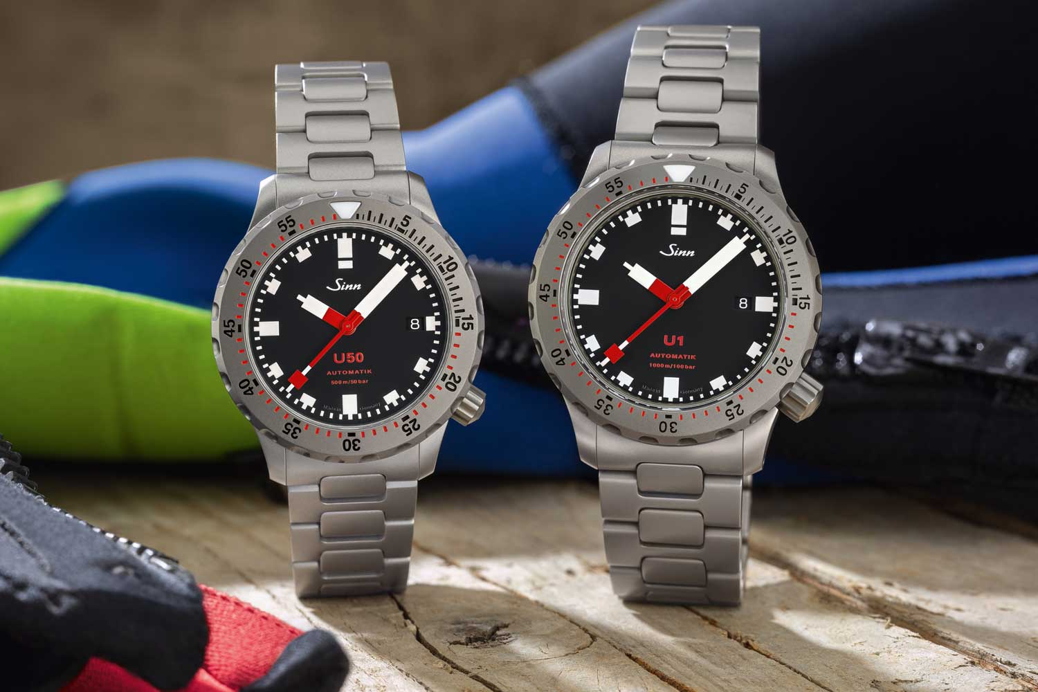 The earlier 44mm SINN U1 side--by-side with the new 41mm SINN U50 (© Revolution)