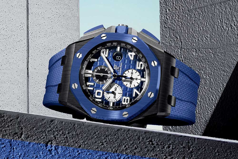Audemars Piguet's Royal Oak Offshore Selfwinding Chronograph with a bold, accented case and a new smoked dial introduced in 2020