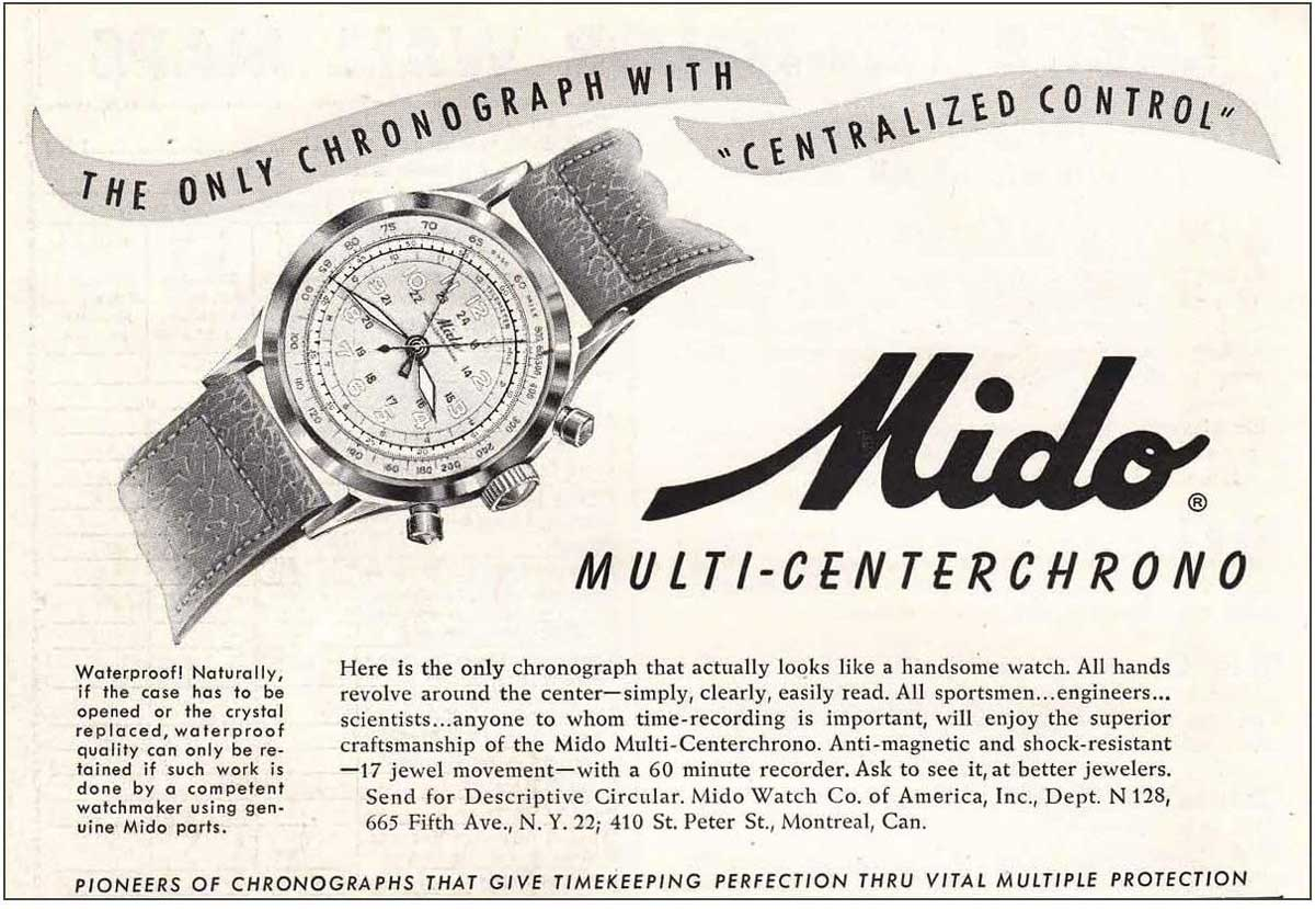 """Mido's original advertising slogan for the Multi-Centrechrono, """"Here is the only chronograph that looks like a handsome watch,"""" emphasised on the clean look of the dial."""