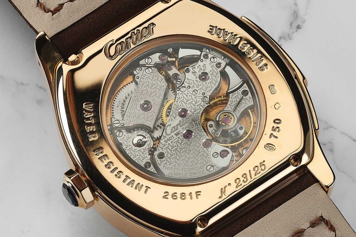 No. 23 of 25 pieces of the yellow gold Tortue Minute Repeater that sold with Phillips at their November 2020 Geneva sale for CHF 85,680; picture here is the fact that this was powered by the Calibre 9401MC (Image: phillips.com)