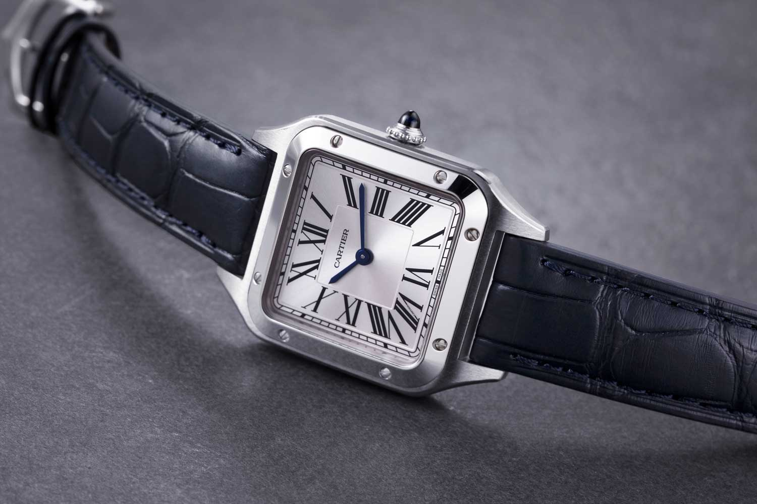 The 2019 Cartier Santos-Dumont Watch, measuring in at 31.4 x 43.5 mm, in stainless steel; powered by a quartz movement; interesting to note that since its reintroduction in 2019, the bezel of the Santos-Dumont features small screws as opposed to rivets (©Revolution)