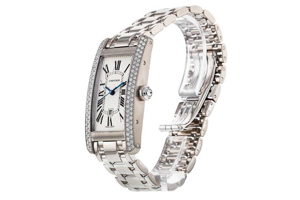 A gorgeous Tank Américaine in white gold and diamonds that is at the time of publication available for purchase through Shop.Revolution.Watch
