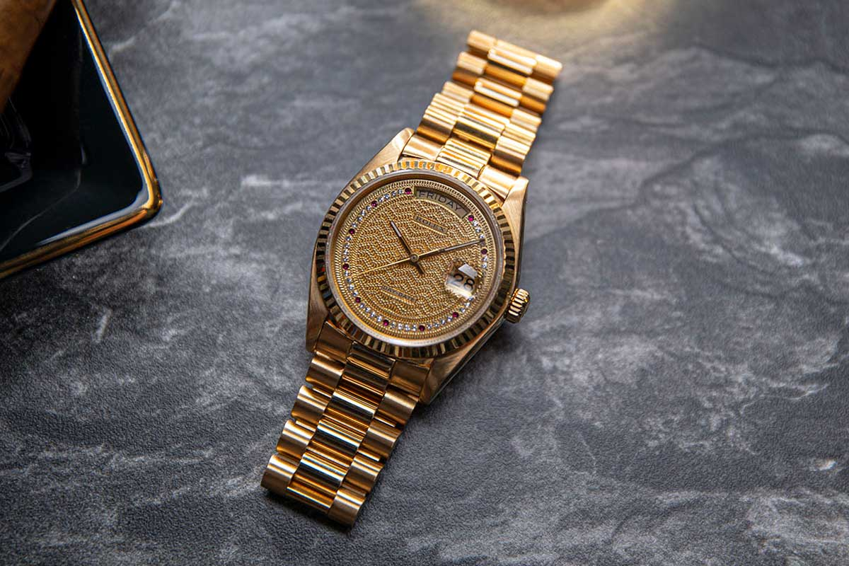 A rare example of the Rolex Day-Date ref.18038 in 18k yellow gold can be checked out at the Revolution Watch Bar in Singapore. (© Revolution)