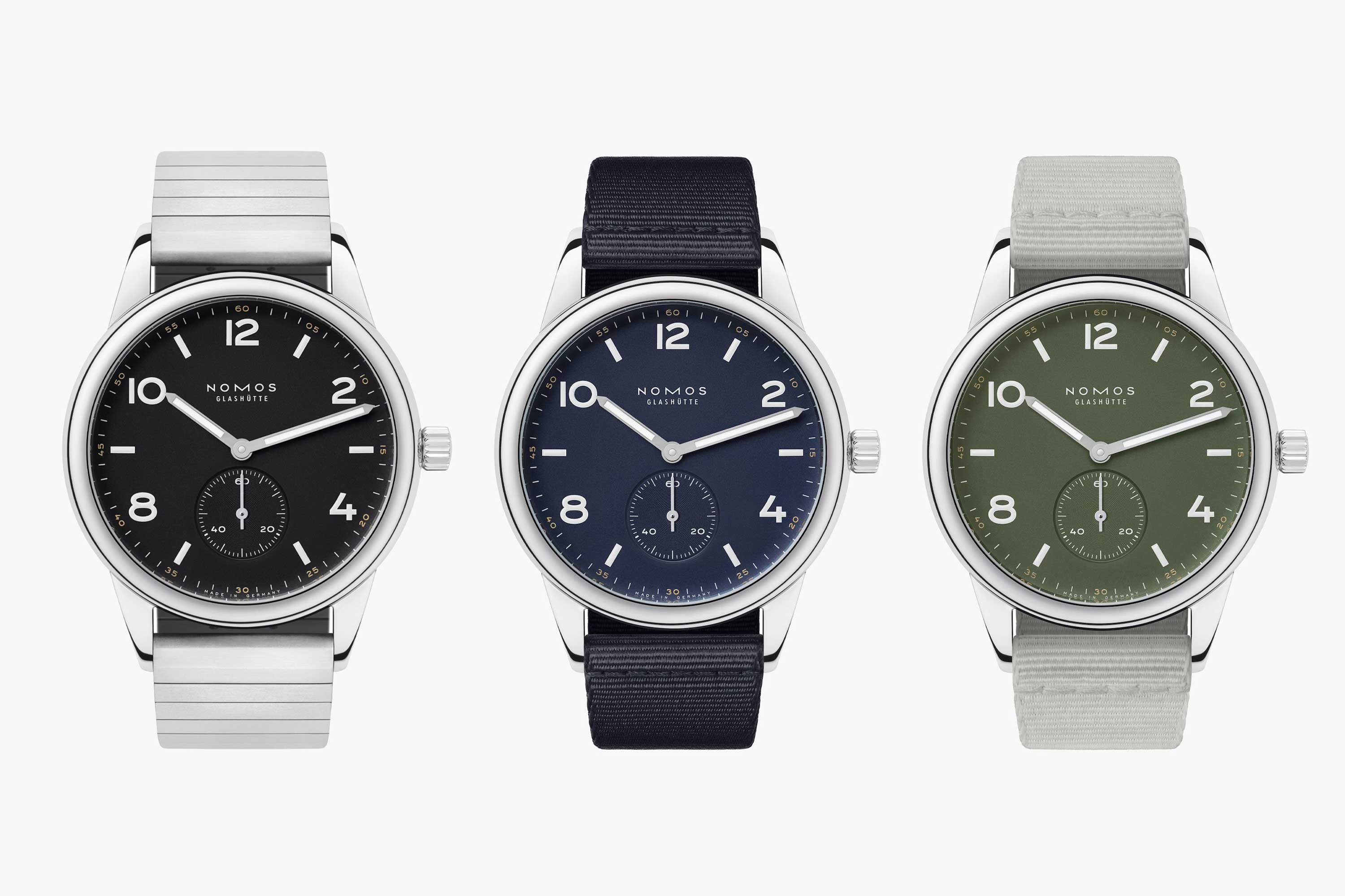 Limited to 175 pieces each, the Club Automatic is available in the colors onyx, navy and olive.