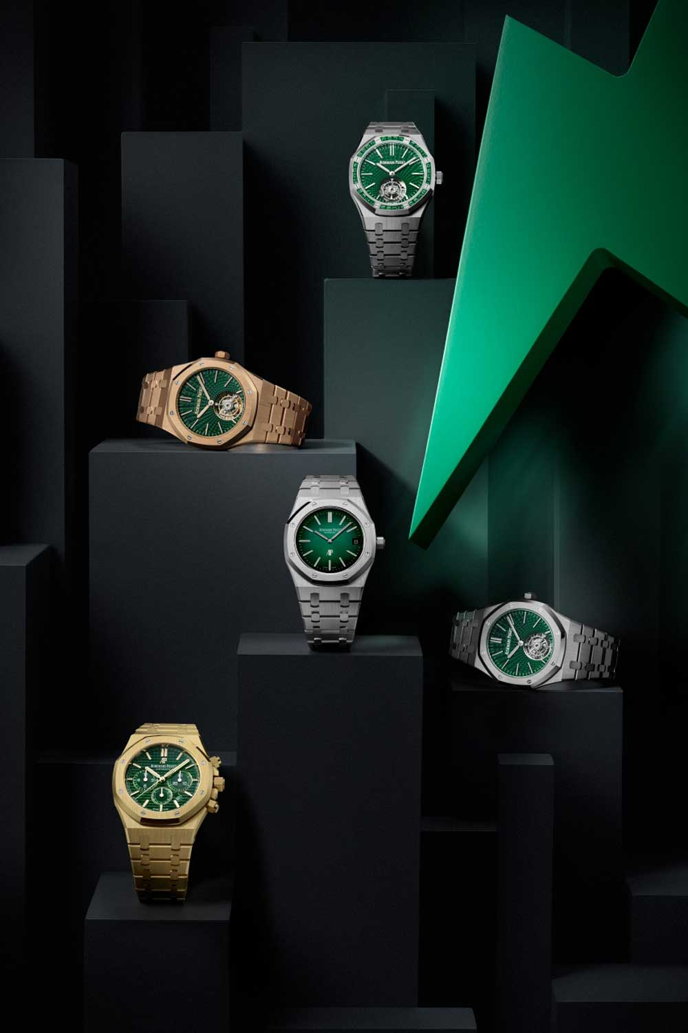 The new Royal Oak collection with a variety of models all enriched with green dials.