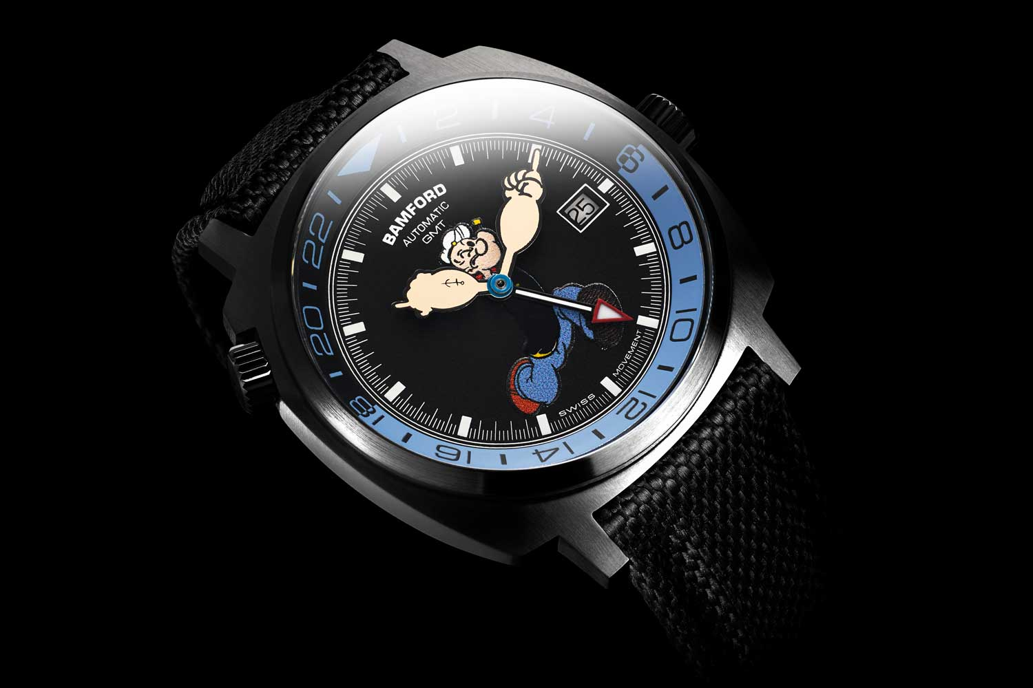 The new Popeye GMT is decked out in blue and black with Popeye's spinach-enabled super strong arms acting as the minute and hour hands.