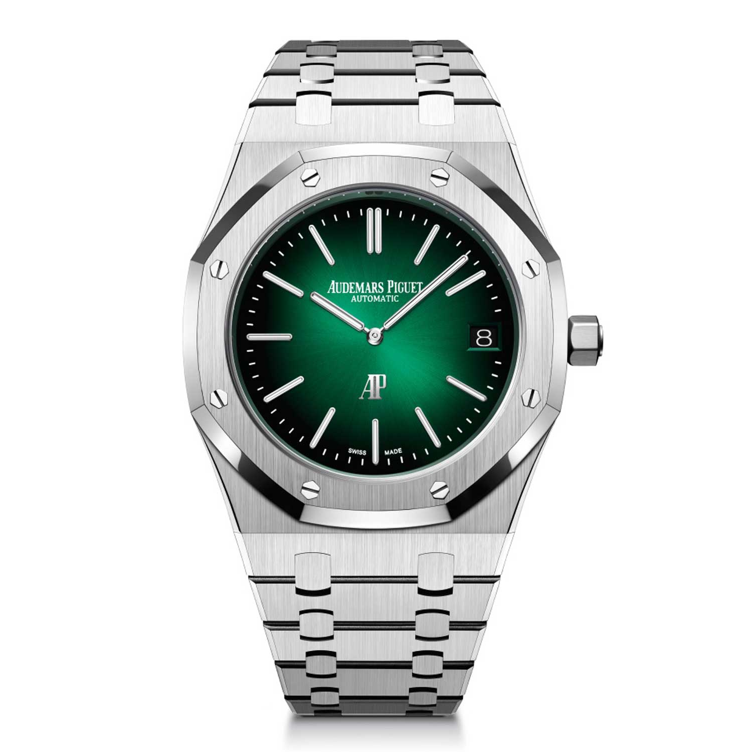 """The Royal Oak """"Jumbo"""" Extra-Thin in 950 platinum with smoked green sunburst dial will be available exclusively to Audemars Piguet House customers."""