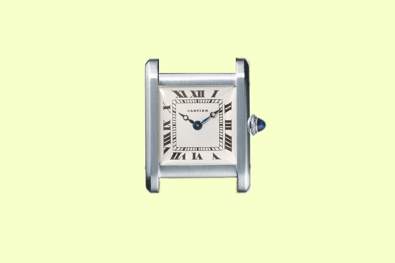 Conceived by Louis Cartier, the Tank wristwatch embodies the perfect balance between classicism and modernity. Here, function becomes form. The hours are written in Roman numerals, as in clocks of the 17th century, while the square-shaped dial is thoroughly contemporary. The Tank watch is timeless, and its success constant and universal. The biggest Hollywood stars, such as Rudolph Valentino and Gary Cooper, and the most elegant ones, like Catherine Deneuve, wore it as a statement of style and freedom. Tank wristwatch Cartier Paris, 1920 Platinum, gold, One sapphire cabochon, Leather strap. Dimensions of the case: 2.96 x 2.30 cm. © Cartier