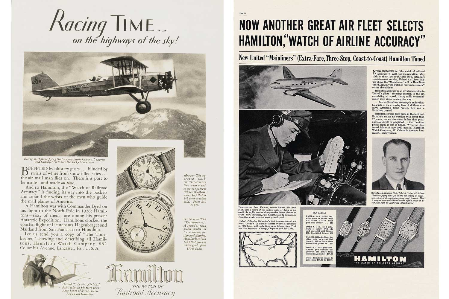 Old Hamilton advertisements showcasing the brand's pioneering work in creating precision tools for pilots.