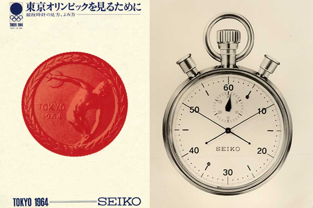 (From left) Seiko was the official timekeeper of the 1964 Tokyo Olympics, it developed 1,278 timing devices to be used at the Games; Seiko's stopwatch with split second function made for the Tokyo Olympics in 1964.