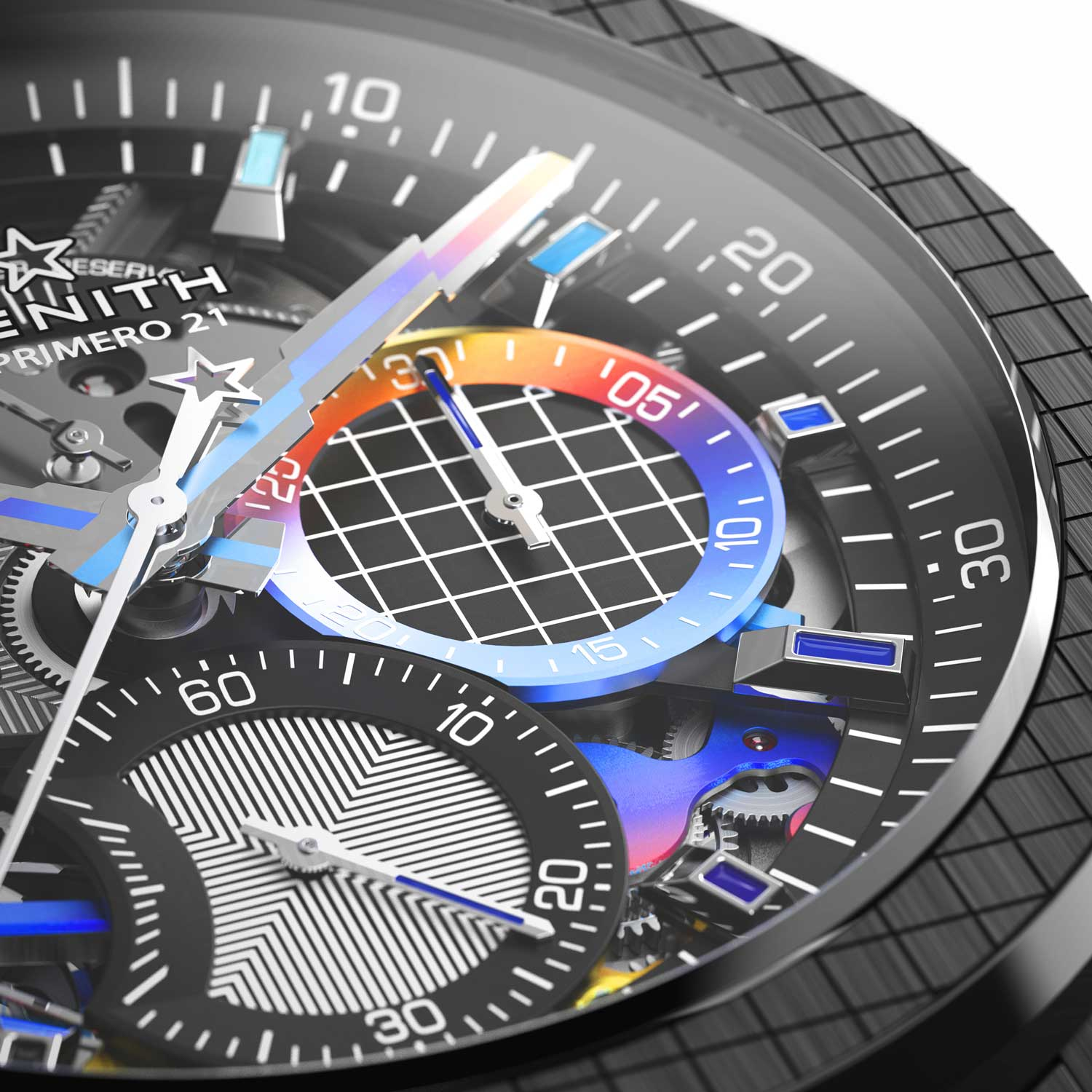 Felip has used his signature moiré optical illusion with thin alternating white and black bands on the top bridges and parts of the dial.