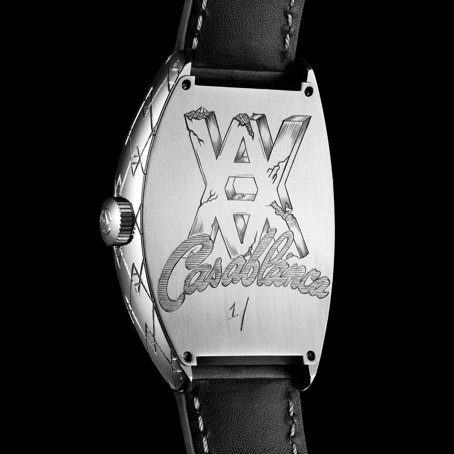 The Arsham Studio Monogram is wrapped all the way around the watch, from the dial to the embossed leather strap, into the case itself, with the engraving all done by hand.