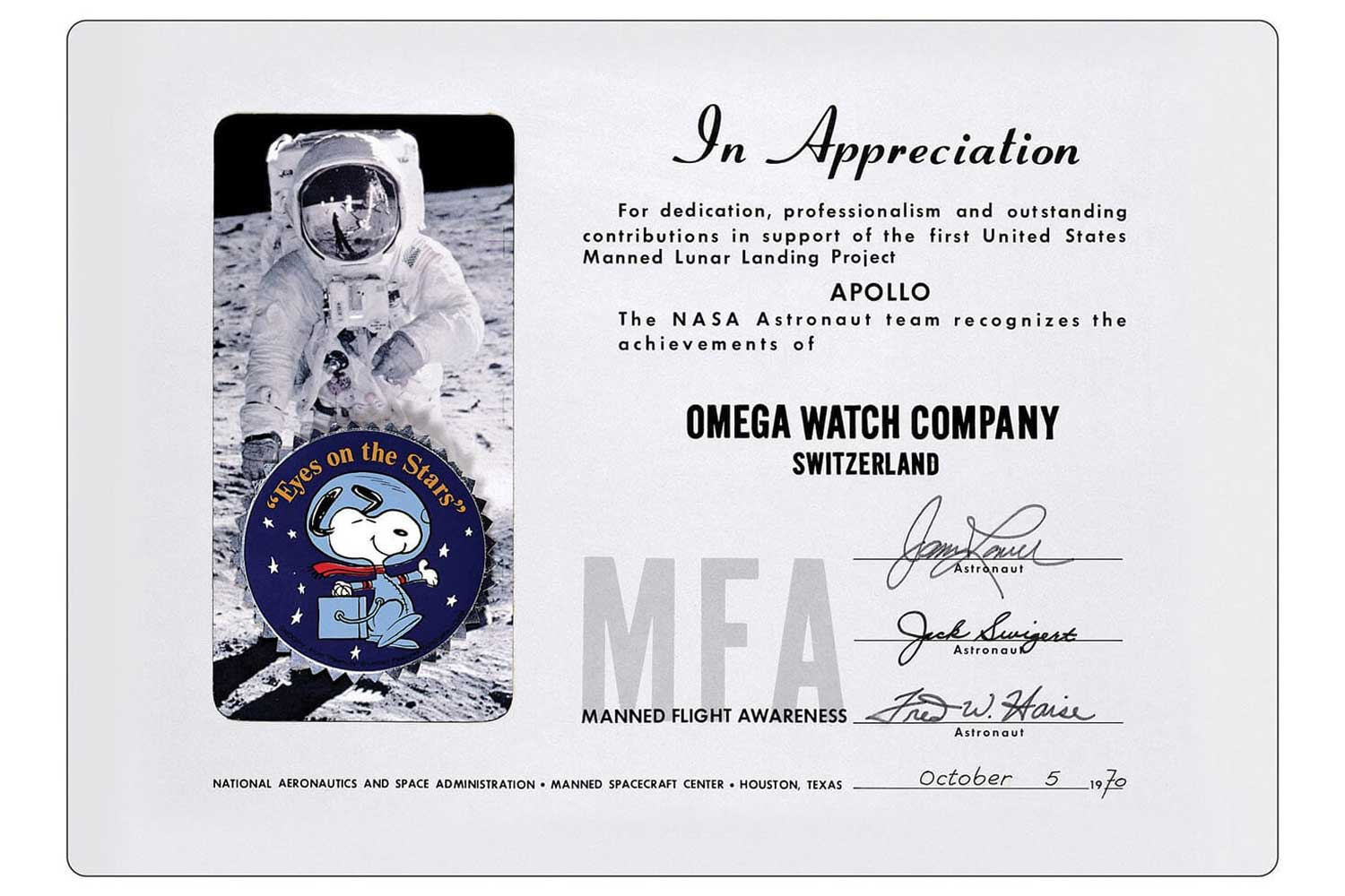 The Silver Snoopy Award presented to Omega by Jim Lovell, Jack Swigert and Fred Haise of the Apollo 13 crew.
