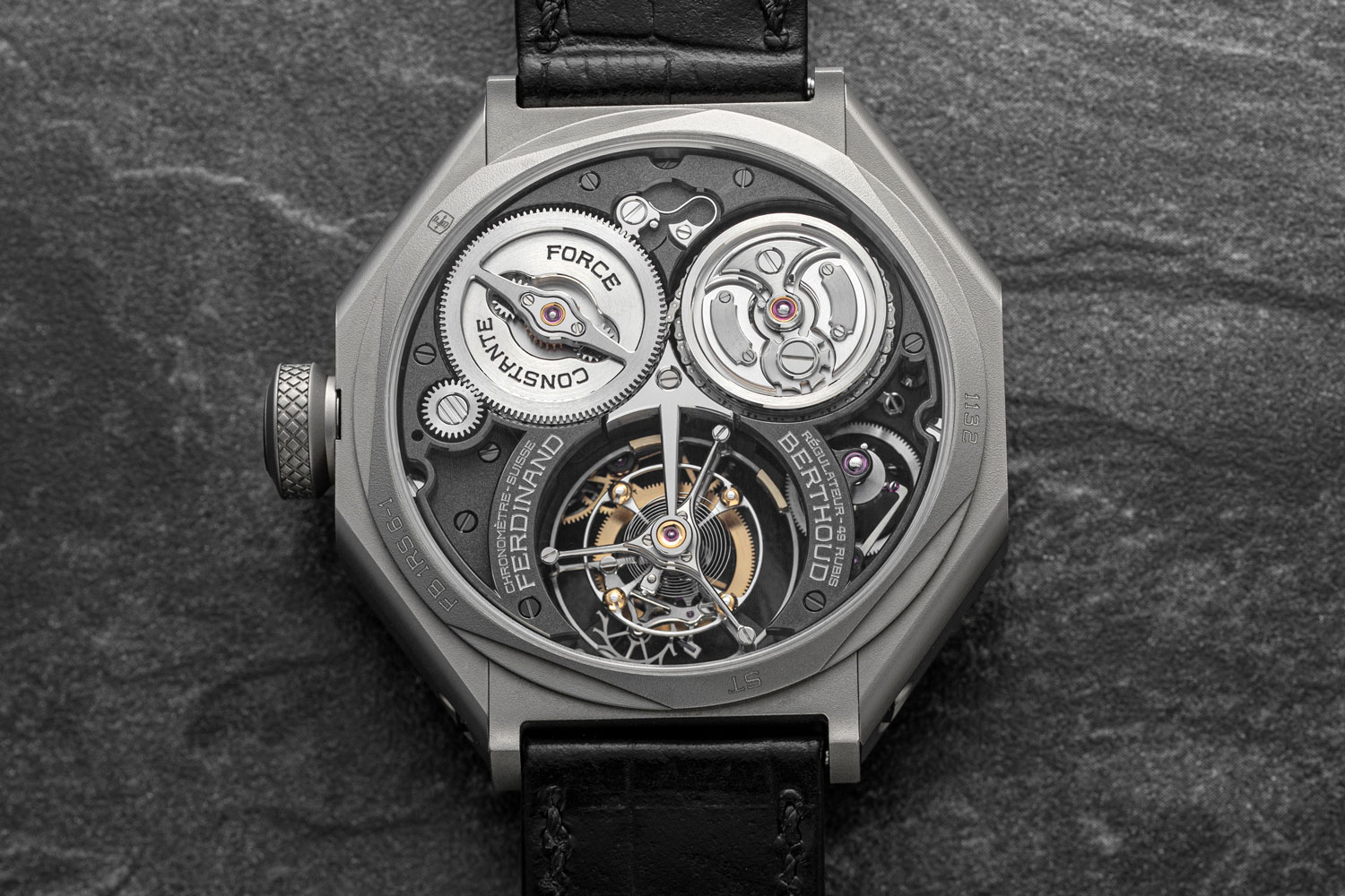 The chain and chain and fusée, constant force mechanism of the Ferdinand Berthoud Régulateur Squelette FB RS as visible from the caseback (©Revolution)