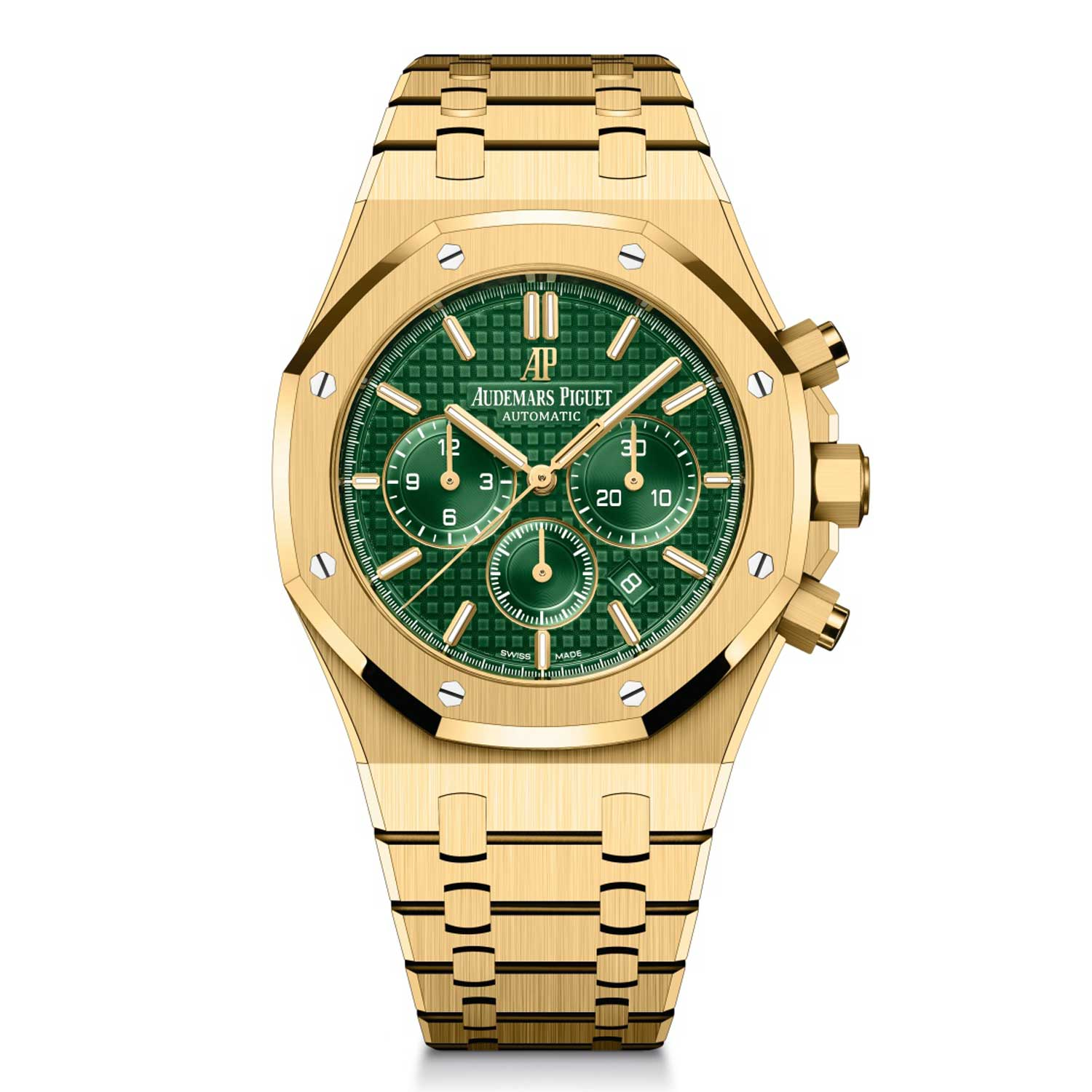 """Royal Oak Selfwinding Chronograph in 18 k yellow gold with green """"Grande Tapisserie"""" dial."""
