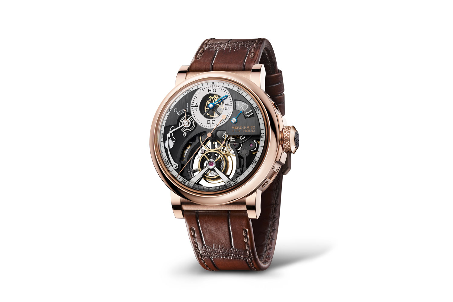 Seen here is the alternate round 18-carat rose gold case for the Ferdinand Berthoud Régulateur Squelette FB RS