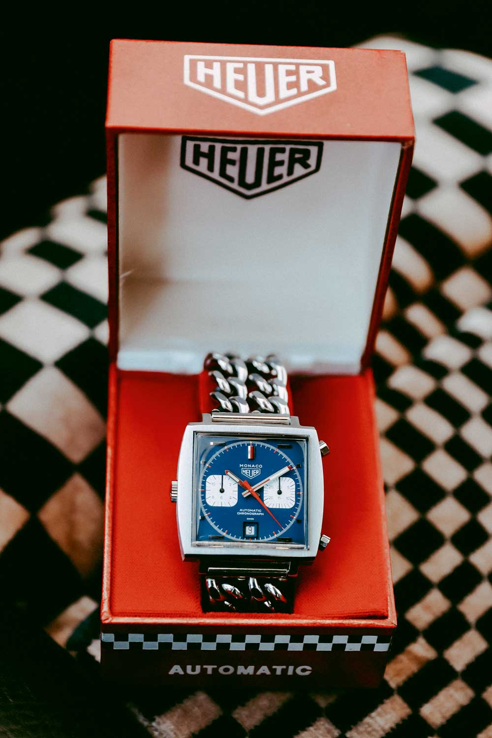 """Heuer Monaco 1133B, aka the """"Steve McQueen"""" was the first Heuer in Haslinger's collection"""
