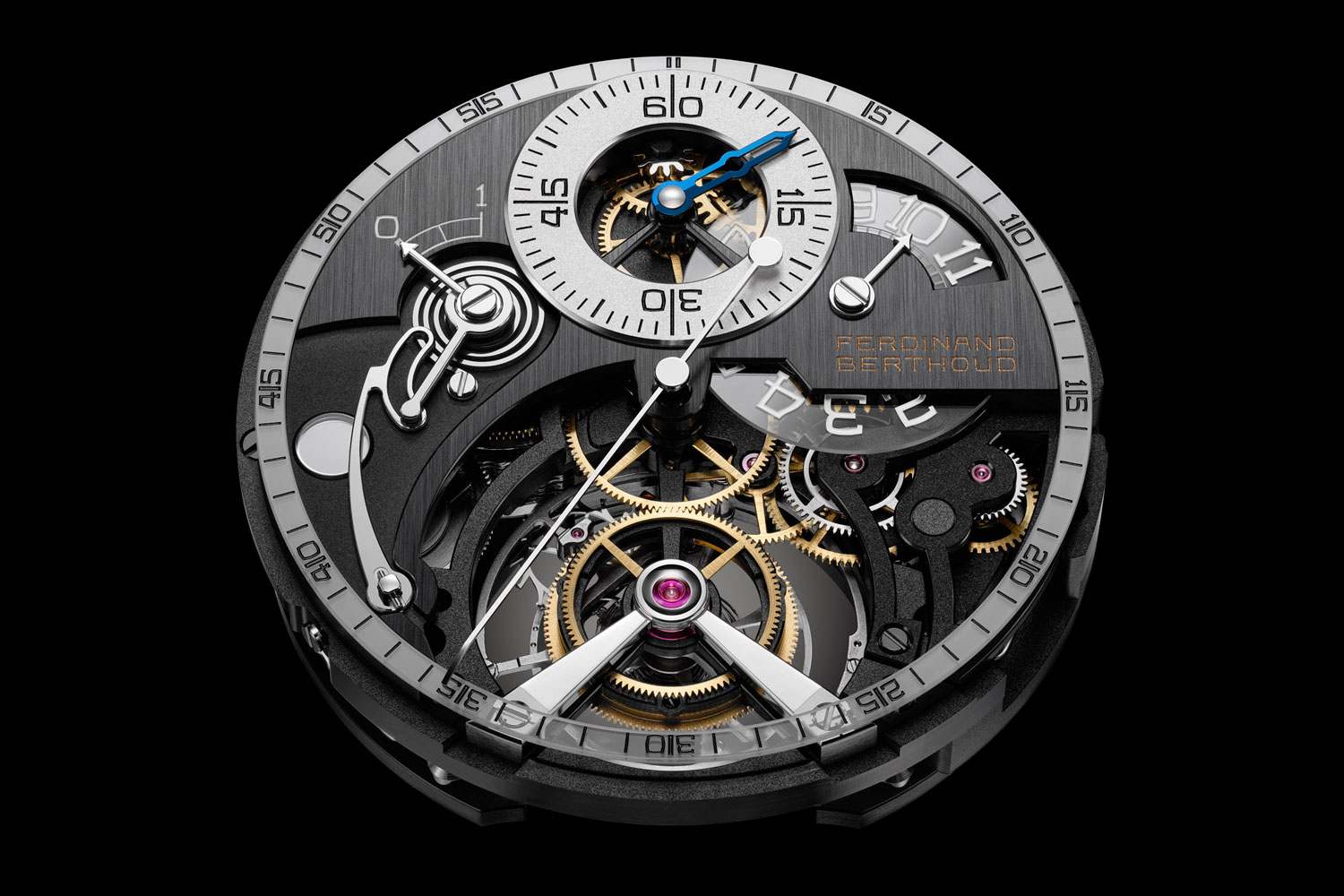 The mechanical hand-wound Calibre FB-T.FC.RS as seen from the front of the Ferdinand Berthoud Régulateur Squelette FB RS